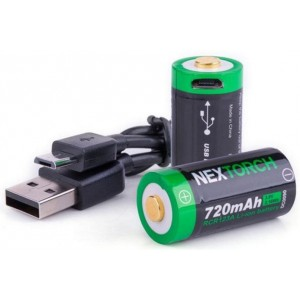 BATTERIE RIC. USB RCR123A NEXTORCH